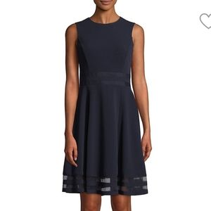 Calvin Klein fit and flare dress mesh insert on
